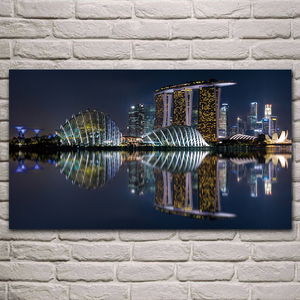 Sunset canvas paint World City Landscape Prints,Marina Bay ,Building , Hotel, Nordic Style Wall Poster, Home Decor