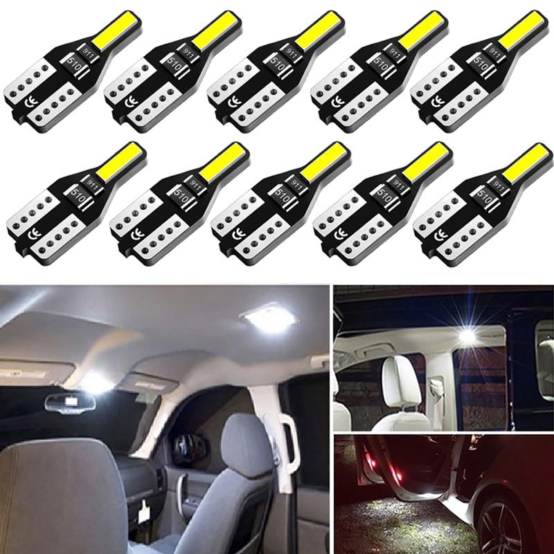 Lâmpada led t10 w5w, luz interior automotivo para megane 3 bmw e46 mitsubishi outlander toyota yaris hyundai com 10 peças i40 bmw e91