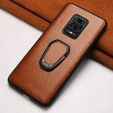 Skórzany futerał na telefon do Xiaomi Redmi Note 9 s 8 7 K30 Mi 9 se 9T 10 Lite A3 Mix 2S Max 3 Poco X2 X3 F1 F2 Pro wosk z oliwek skóra okładka