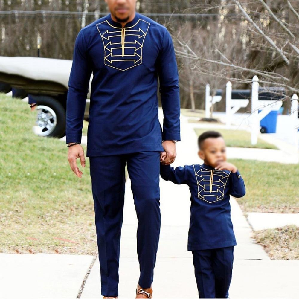 H & D männer kid junge afrikanische kleidung langarm t shirt hosen anzug für männliche vater sohn dashiki stickerei kleidung party trägt 2019