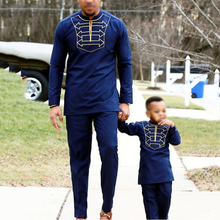 H & D ropa africana para hombre y niño, camiseta de manga larga, pantalones, traje para hombre, padre, hijo, dashiki, bordado, ropa de fiesta, 2020