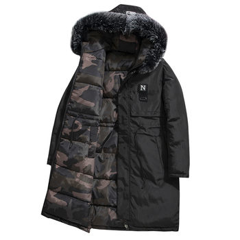 Nice Pop Winter Thick Warm Jacket Reversible Men Long Clothing With Camouflage  Hooded Faux Fur Collar Cotton Coat PARKAS Windpr