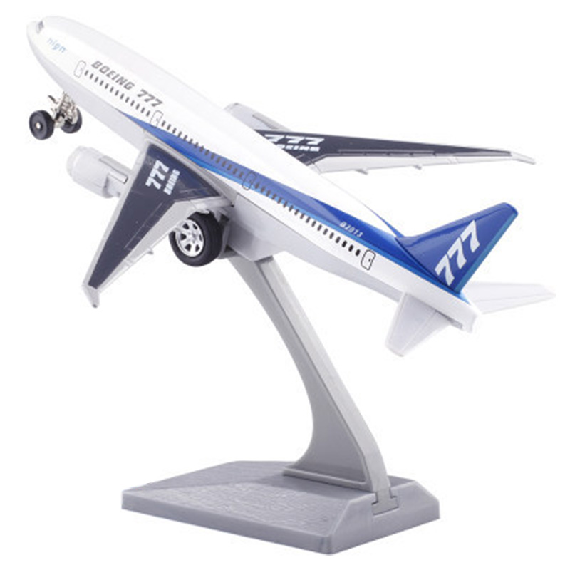 Diecast Metal Plane Model Toys 7 Inch Boeing 777 Pull Back Replica with Sound & Light Aircraft Model for Kids Toys image