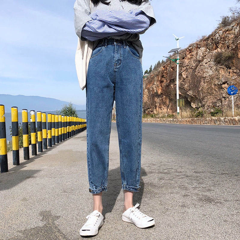 Korean Style Jeans Women Casual Autumn High Waist Straight Pants Female Pockets Trousers