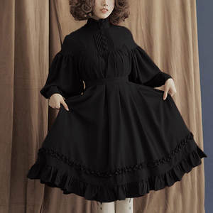 Female Dresses Lantern Elagant Lace-Up Long-Sleeve Gothic-Style Sweet Lolita Vintage