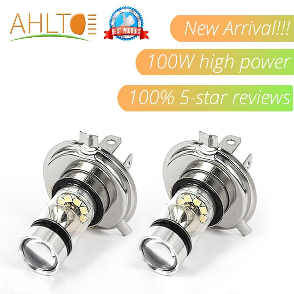 Ahltd 1pcs H4 H7 Fog Lamp100W Led 12V 24V 1500LM Headlight Plug And Play Auto Stop Light Driving Bulb Tail Driving Headlamp
