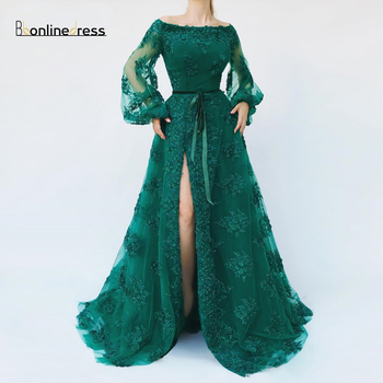 Party-Gowns Green Evening Dress Applique Beaded Long Evening Dresses Off-The-Shoulder Full Sleeve Formal Gown robe-de-soiree 2019 mermaid long evening dress off the shoulder applique evening gown robe de soiree