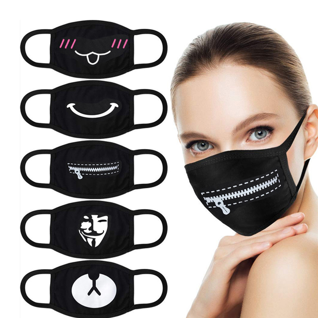 Cotton Pm2.5 Black Mouth Mask Anti Dust Mask Activated Carbon Filter Windproof Mouth Muffle Bacteria Proof Flu Masks 1