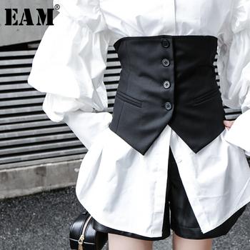 [EAM] kobiety czarny guzik podziel wspólne asymetryczny luźny krój kamizelka nowy bez rękawów mody fala wiosna jesień 2020 1K371 tanie i dobre opinie COTTON Kieszenie Stałe REGULAR WOMEN V-neck Streetwear Kurtki płaszcze zipper Vest 1K37101S black