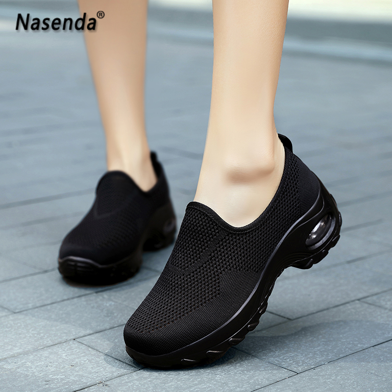 summer breathable women shoes home mesh walking shoes for woman slip on rubber womens sneakers casual fashion ladies shoes 41