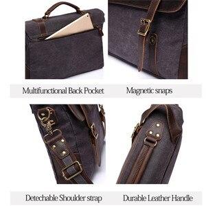 Image 3 - VASCHY Men Vintage Briefcase Genuine Leather Canvas Messenger Bag for Men Business Shoulder Bag Fits 14 inch Laptop Handbag