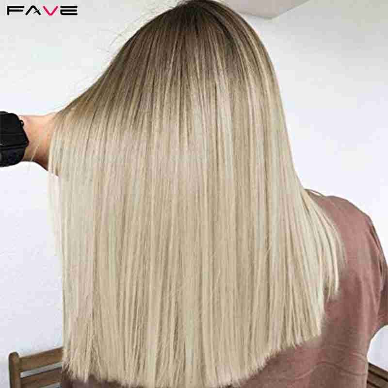 FAVE Mixed Ash Brown Blonde Straight Bob Shoulder Length Synthetic Wig Middle Part Cosplay Party Heat Resistant Fiber For Women