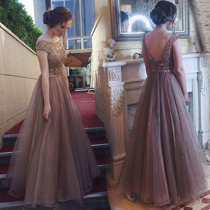 BacklakeGirls 2020 Round Neck Short Sleeve Sexy Off Shoulder Hot Sale Evening Dress Long Organza Prom Dress Vestido Longo