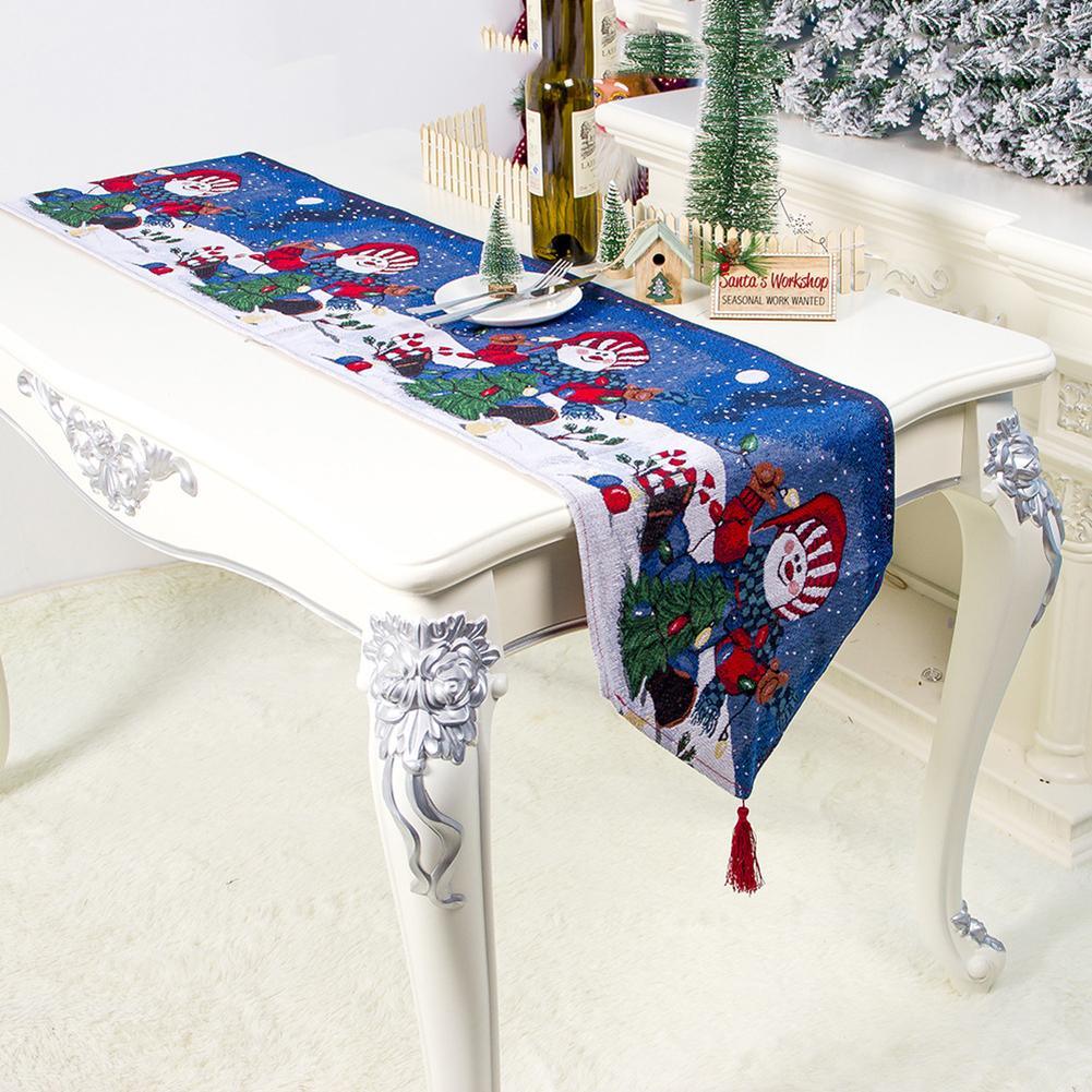 Christmas Table Runner With Tassels Snowman Xmas Garland Printed Christmas Dining Table Runner New Year Home Decorations