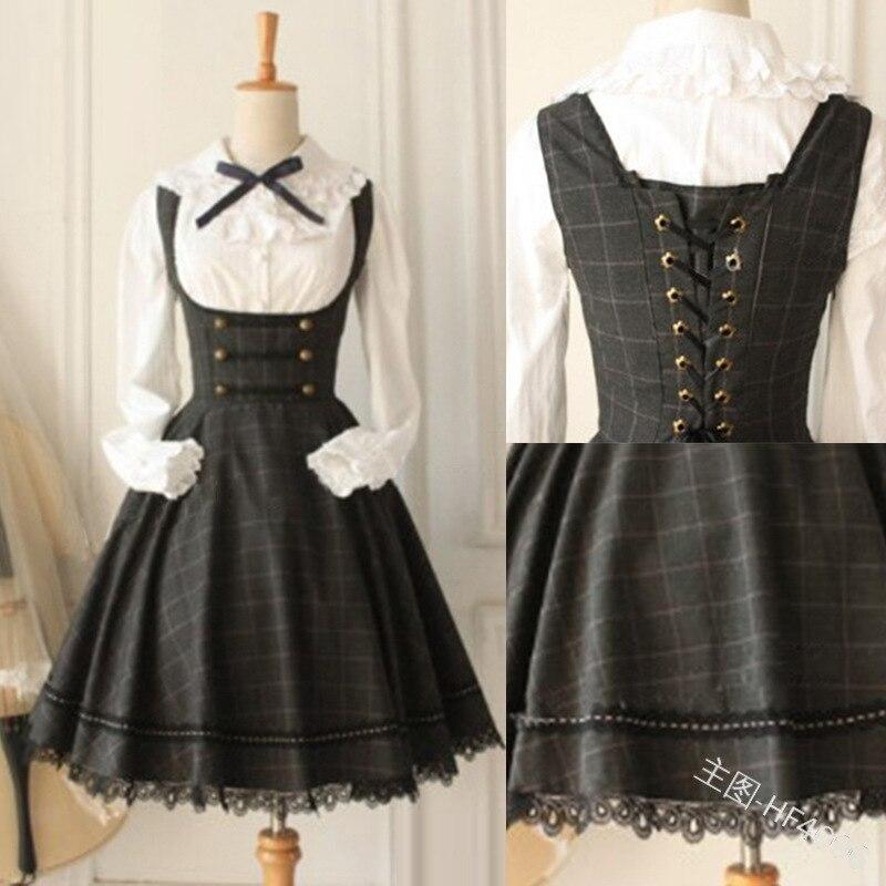 Sweet princess lolita dress vintage lace bowknot ruffled high waist kawaii dress kawaii girl gothic lolita op fake two pieces