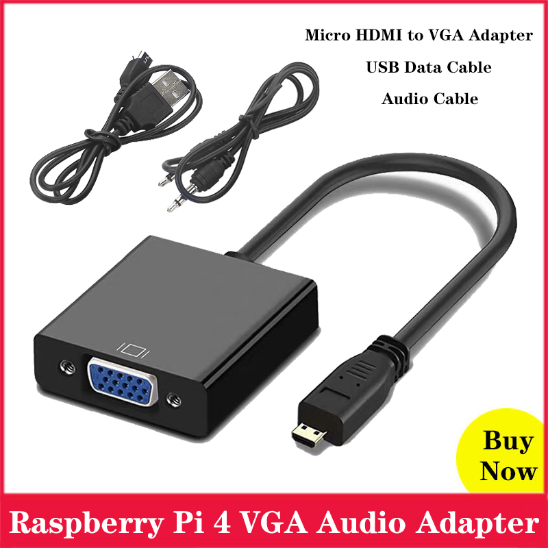 Raspberry Pi 4 Micro <font><b>HDMI</b></font> to VGA Cable Adapter Converter with Audio Cable Micro USB Cable for XBOX <font><b>PS</b></font> 3/4 HDTV Raspberry Pi 4 image