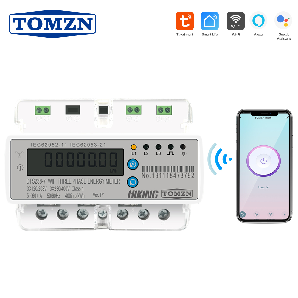 Tuya 3 Phase Din Rail WIFI Smart Energy Meter Timer Power Consumption Monitor KWh Meter Wattmeter 3*120V 3*220V 3*230V 50/60Hz