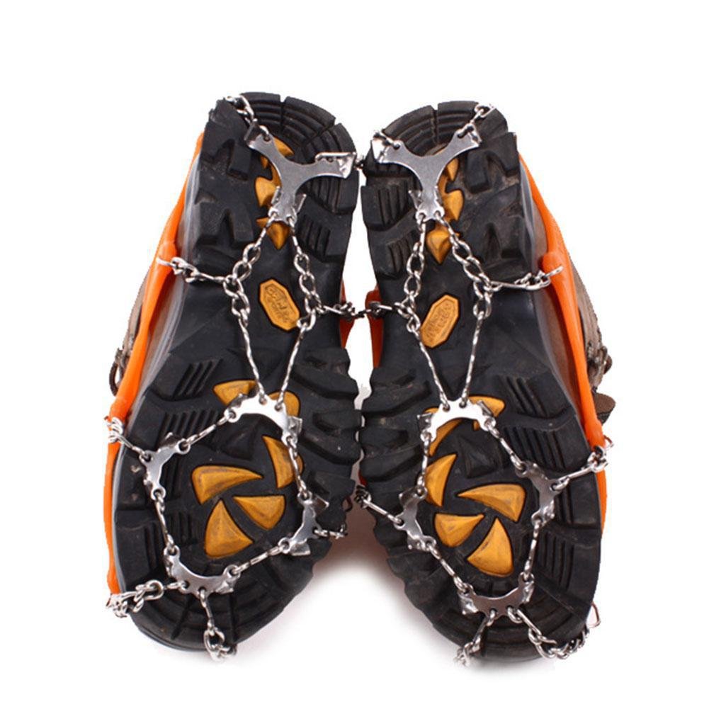 Outdoor 12-Stud Steel Chain Footwear Nonslip Spikes Slip-on Stretch Crampons Ice and Snow Grips