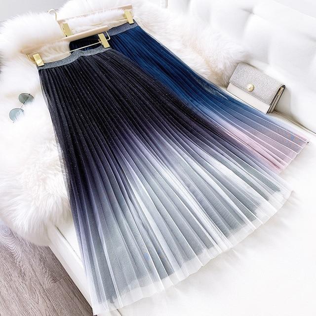 2020 de boa qualidade das mulheres cintura alta plissado saia longa boêmio duas camadas gradiente cor verão malha saia faldas jupe femme saia
