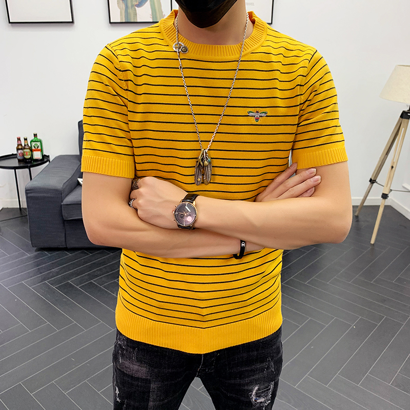 High Quality Slim Fit Round Collar Solid Bottom Men T Shirts 2019 Autumn Tee Shirt Homme Knitted Stripe Short Sleeve T-Shirt Men