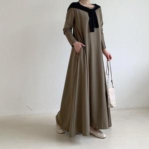 Muslim Casual Dubai Abaya Turkey Dress for Women Round Neck Solid Color Party Islamic Fashion Abayas Caftan Indian Hijab Dress