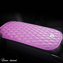 PU Leath Car Armrests Box Cover Pad Crown Crystal Increased Comfortable Central Hand Protection Cushion Covers Universal