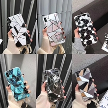 Geometric Splice Marble Texture Phone Cases For iPhone X XR XS Max 6 6S 7 8 Plus Soft IMD Electroplated Back Cover Coque Gift