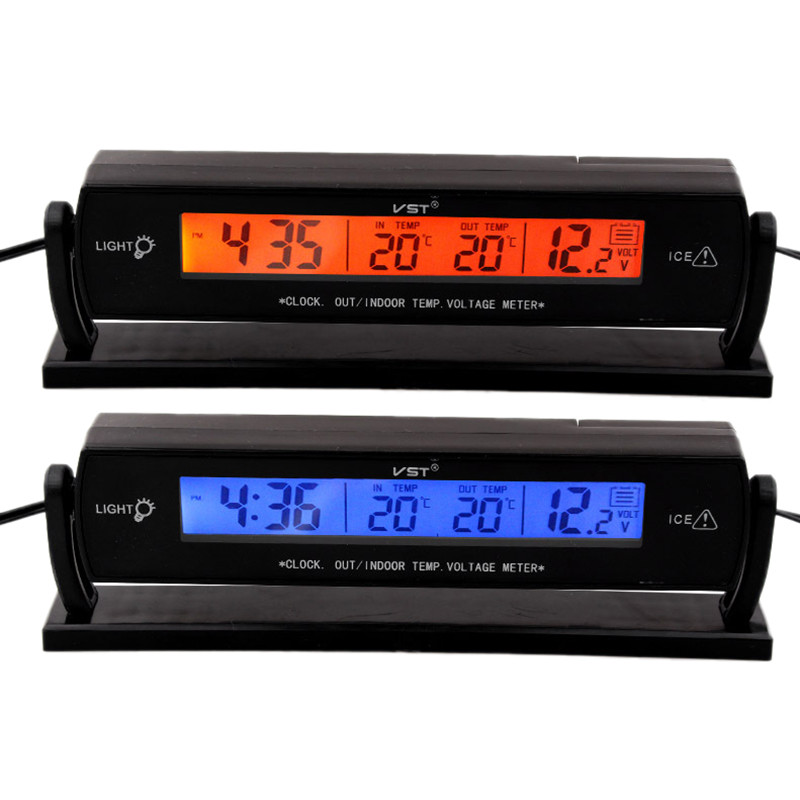 3 In1 LCD Car Digital Clock In/Out Display Screen Auto Car Voltage Temperature Thermometer Meter Monitor Clock Alarm