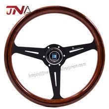 Volante de imitación de madera para coche, componente JDM de alta calidad, con rayo negro, estilo clásico