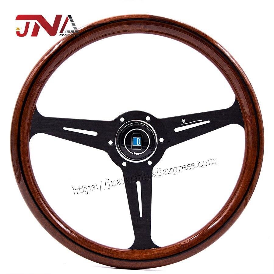 Volante de copia de madera JDM de alta calidad con rayo negro, volante clásico