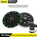 6 дюймов, 48 отверстий, обратная шлифовальная накладка M8 и 5/16-24 дюйма, резьба для шлифовального диска на липучке, безпыльные шлифовальные накл...