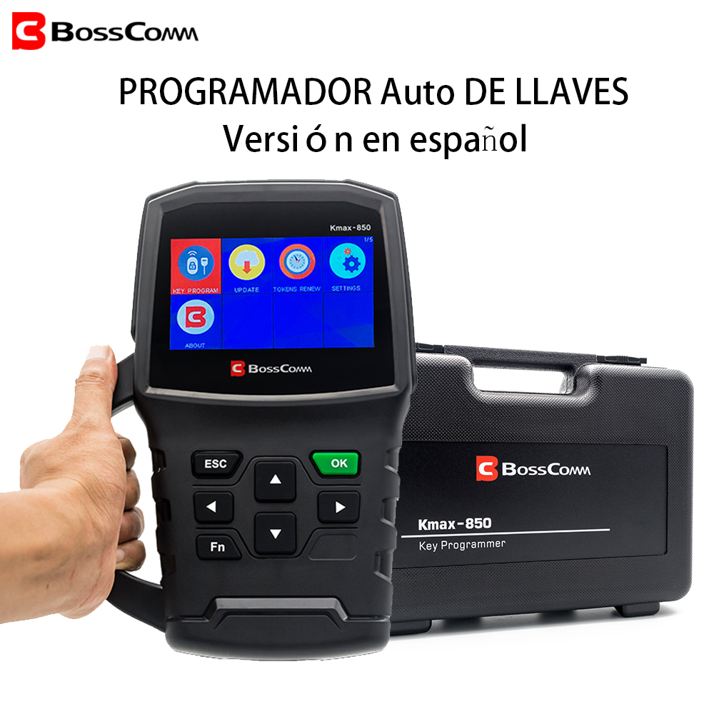 BOSSCOMM KMAX-850 2019 Auto Car Key Programmer Automotivo OBD2 Spanish-language Version Car Programmer For Locksmith