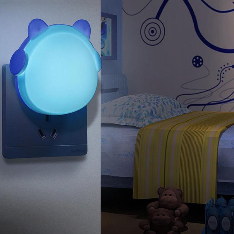 Mini Cute Bear Light Control Night Lights LED Automatic Sensor Bedroom Lamp Intelligent Light-Controlled Induction Switch Light