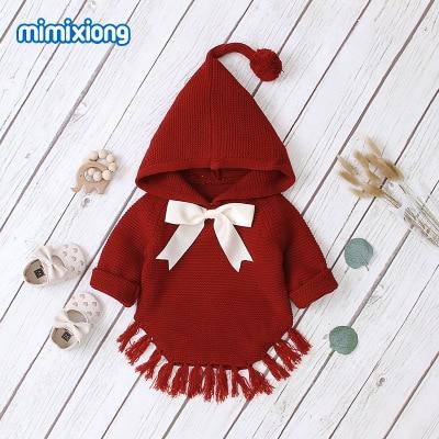 ホット販売ベビーニット弓付きセータートップス春の新作秋かぎ針幼児の子供服セーター
