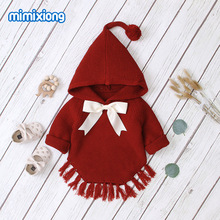 Hot Sale Baby Knitted Bow Hooded Sweater Tops New Spring Autumn Crochet Toddler Kids Clothes Sweater