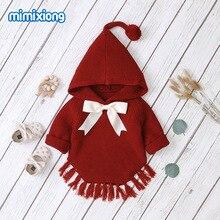 Sıcak satış bebek örme yay kapüşonlu süveter üstleri yeni bahar sonbahar tığ yürümeye başlayan çocuk giysileri kazak