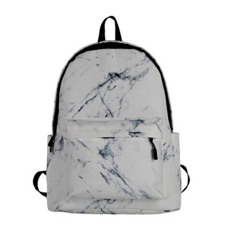 New Fashion Unisex Backpack Lady Men Canvas Teen Girl Bag Casual Marble
