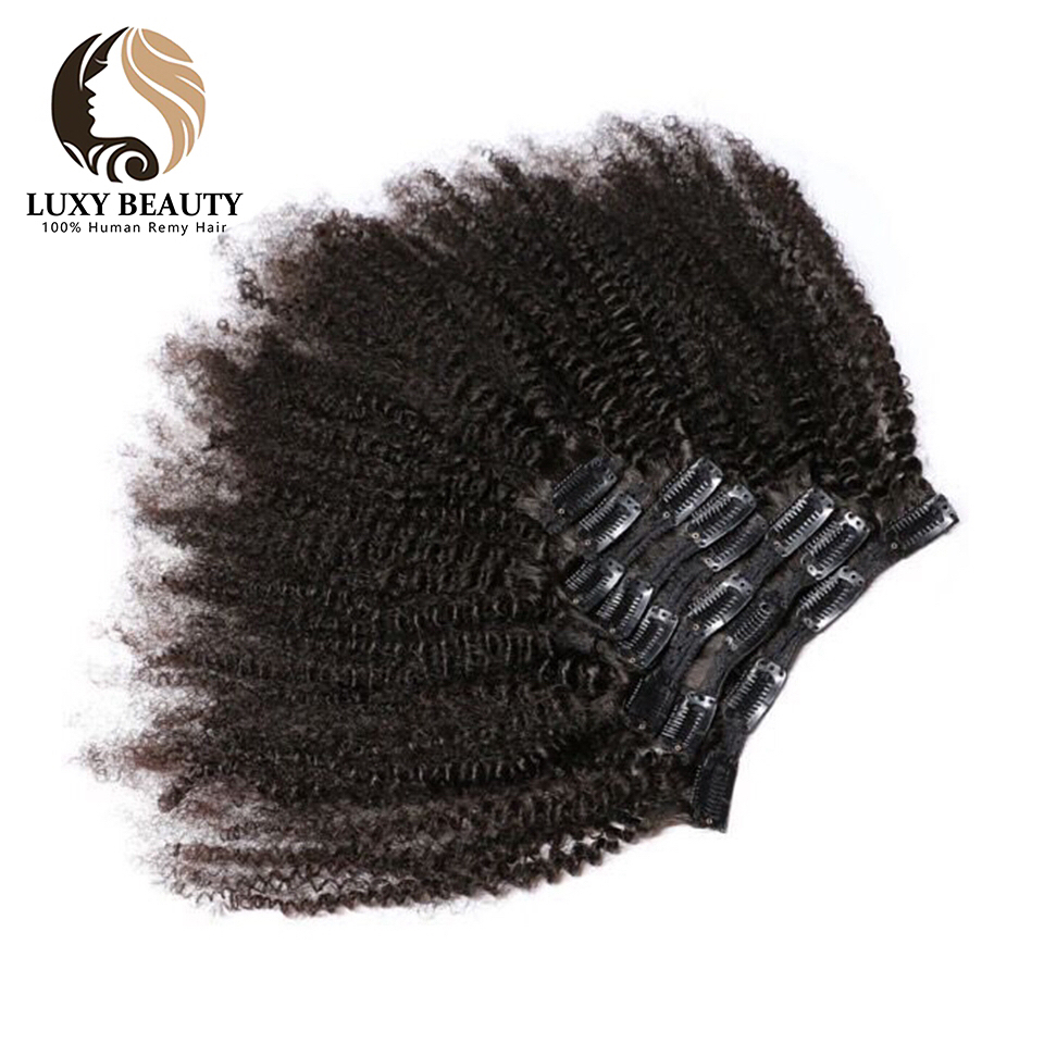 Luxy Beauty Afro Kinky Curly 100% Remy Hair Natural Color Full Head Clip In Human Hair Extensions 8Pcs/Set 120G Ship Free