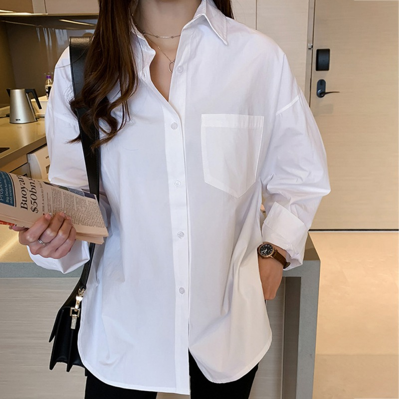 Casual Loose Cotton Women Blouse Shirts Buttons Solid Color Women Spring Autumn Turn-down Collar Long Sleeve Shirts