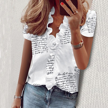 Letter Print Blouse Women Shirt Short Sleeve Womens Tops and Blouse Summer Ruffle Fashion Woman Blouses 2020 Feminine Top New