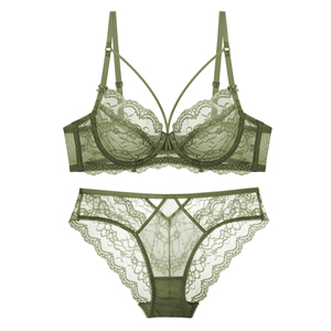 Image 5 - TERMEZY Classic Bandage Lingerie Push Up Bra Set Lace Underwear Set Sexy Transparent Brassiere Large size Women underwear