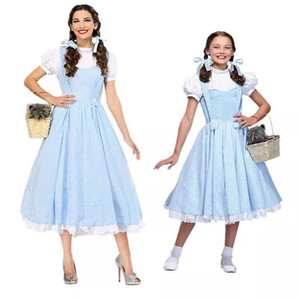 The Wizard of Oz Dorothy Maid Costume Halloween Fancy Party Cosplay Maid Uniform Parent-child Blue Gingham Dress(China)