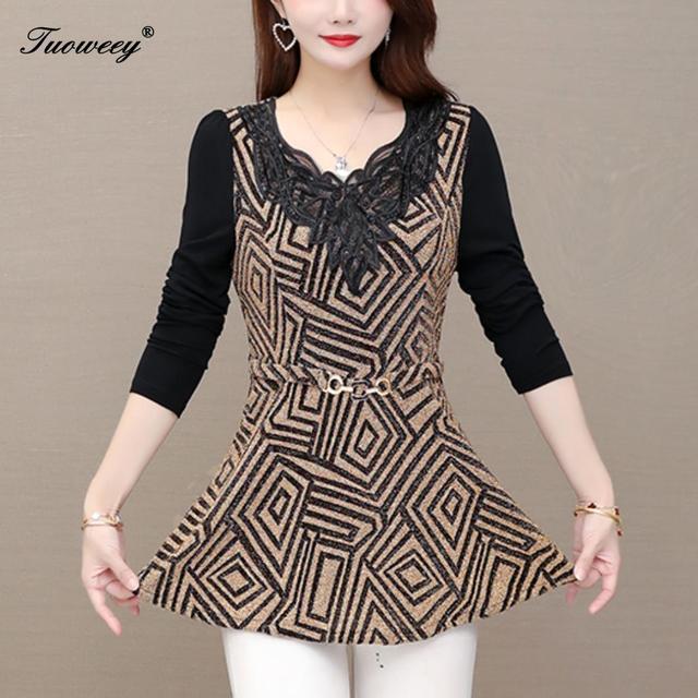 plus size Women vintage Blouses hollow out Fashion autumn long Sleeve Shirt Female V neck tops camisas mujer elegant 2