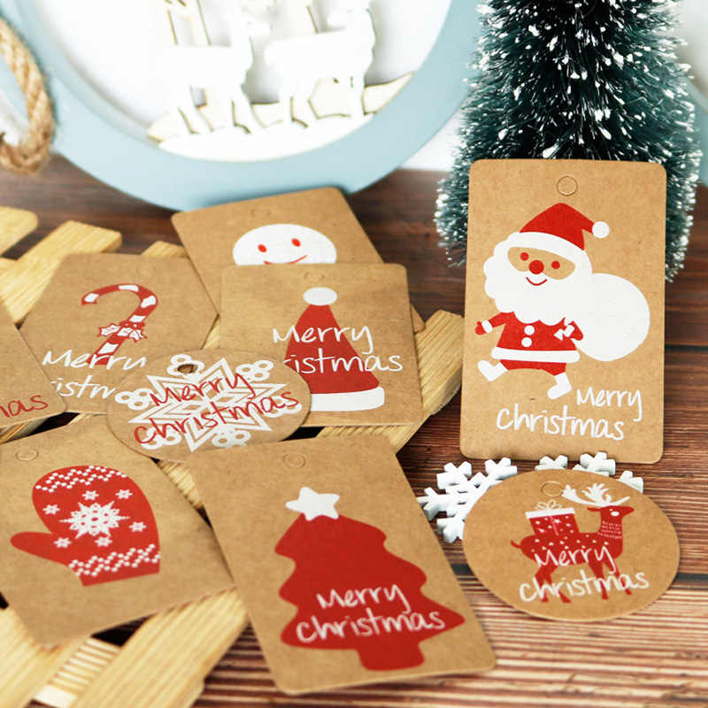 Merry Christmas Paper Tag 100pcs Mix Design Deer Santa Claus Gift Box Paper Hang Tag Labels Gift Tag with String Xmas Decoration