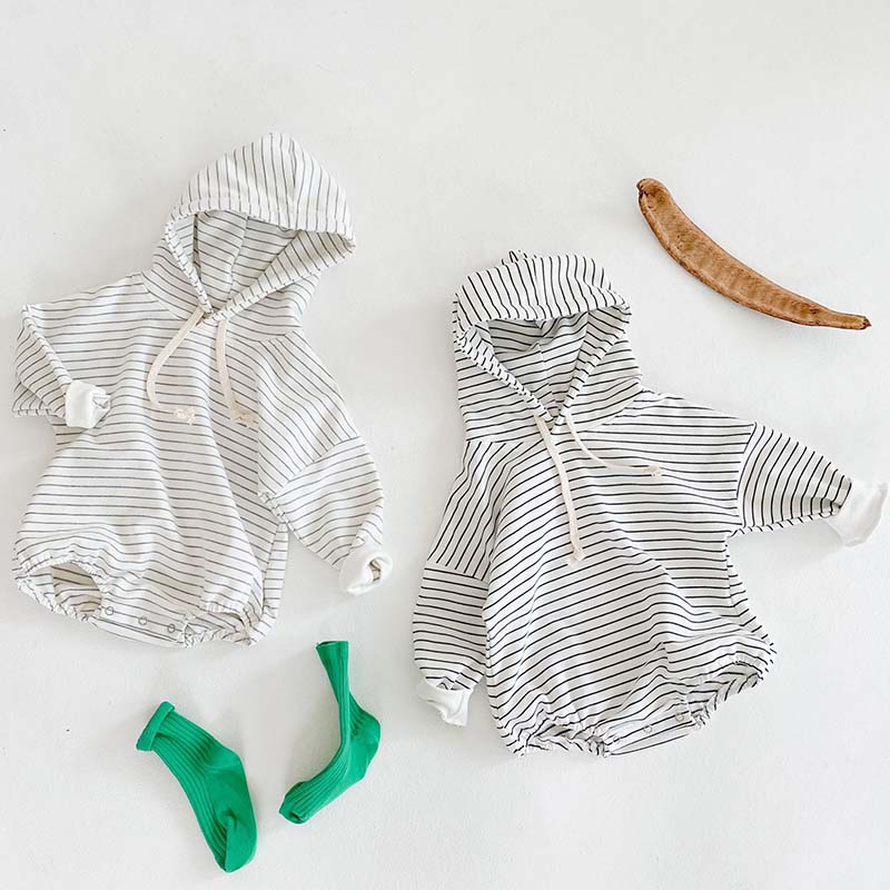 Autumn Baby Boy Girl Jumpsuit Newborn Stripe Long-Sleeve Hooded Sweater Baby Bodysuit  Cotton One-Piece Crawling Clothes