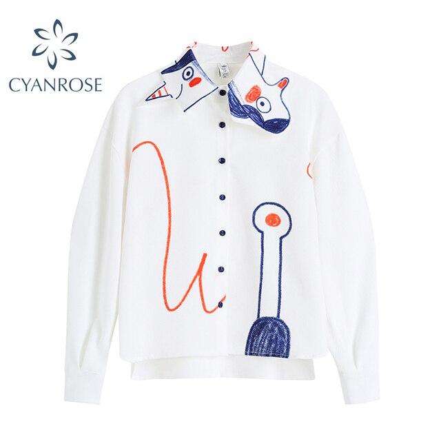 Graffiti Shirt Women Korean Fashion Turn Down Collar Long Sleeve Painted White Shirt Blouse Lady 2021 Spring Casual Loose Tops 1