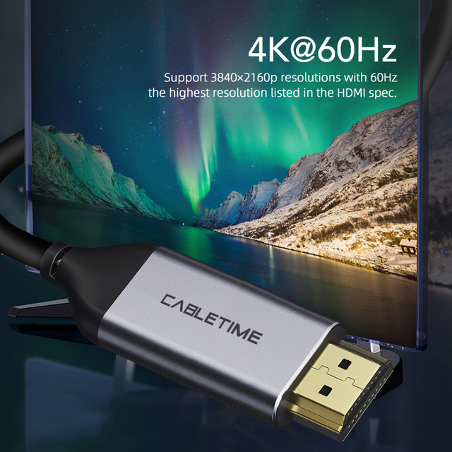 CABLETIME USB C a HDMI Cable 4k hdmi cable 4K 60Hz tipo C HDMI Thunderbolt 3 para Samsung Huawei mate 20 Libro pro USB-C HDM C029