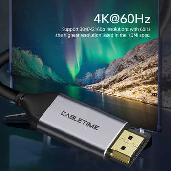 CABLETIME USB C to HDMI Cable 4k hdmi cable 4K 60Hz Type C HDMI Thunderbolt 3 for Samsung Huawei mate 20 Book pro USB-C HDM C029