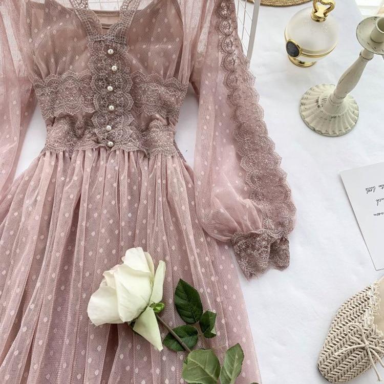 Lace Floral V-Neck Long Sleeve Polka Dot Dress 37