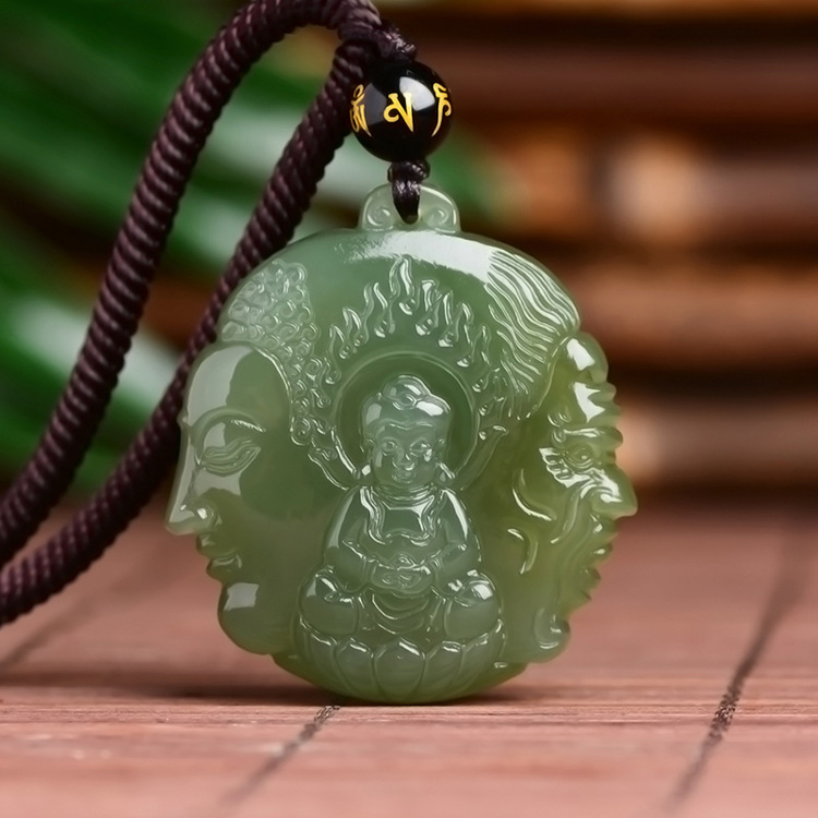 Real jade Hand-Carved Green Hetian qing jade Pendant green jade gift necklace women men hollow jade jewelry with certificate